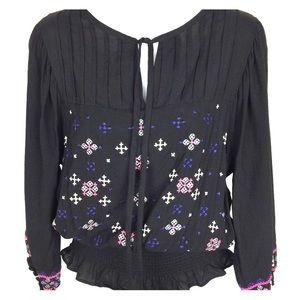 LULU black embroidered top